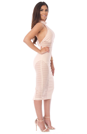 Blanca Sheer Midi Dress - Beige