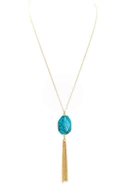 Stone Tassel Necklace (more colors)