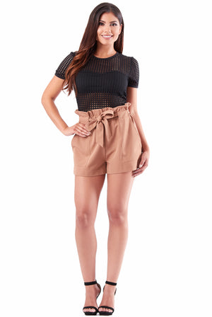 Kourtney High Waist Shorts - Tan