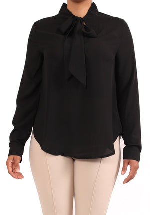Catherine Tie Neck Blouse - Black