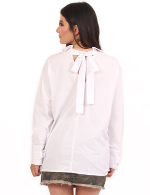 Bow Sleeve Button Up Shirt