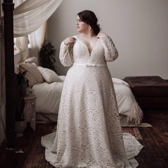 Alaya - Long Sleeve Plus Size Wedding Dress