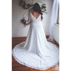 V Back Lace wedding gown with almond shaped train