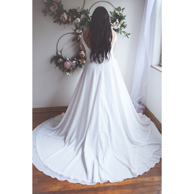 destination wedding gown with long train -back view