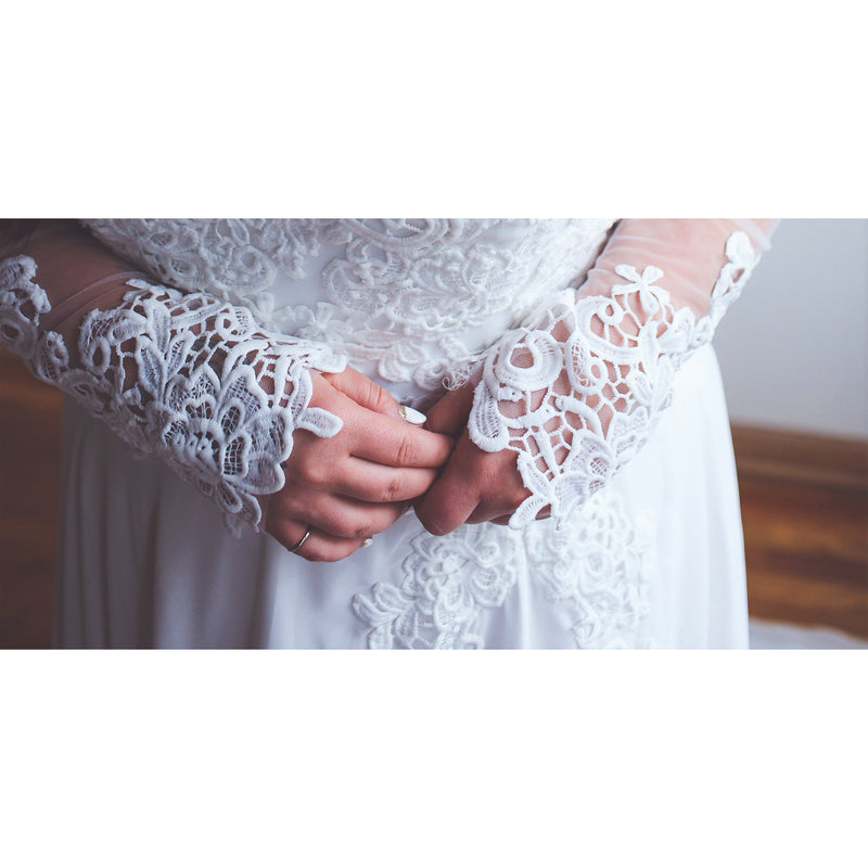 lace close up up sleeve detail on destination wedding dress