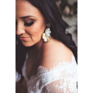 Close up detail of delicate lace shoulder of wedding gown