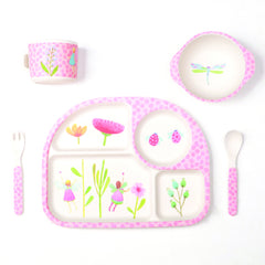 Bamboo dinner set with divided plate - Fairy Garden 5 piece set