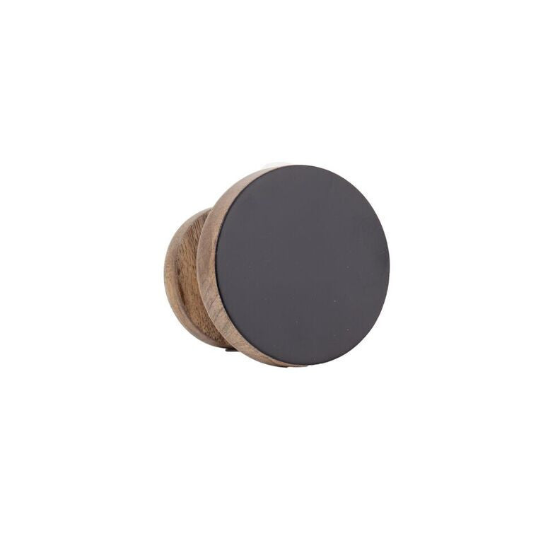 Round Wooden Wall Hook - Small Black
