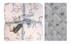 Dreaming of Horses and Stars Quilt - Blush/Grey