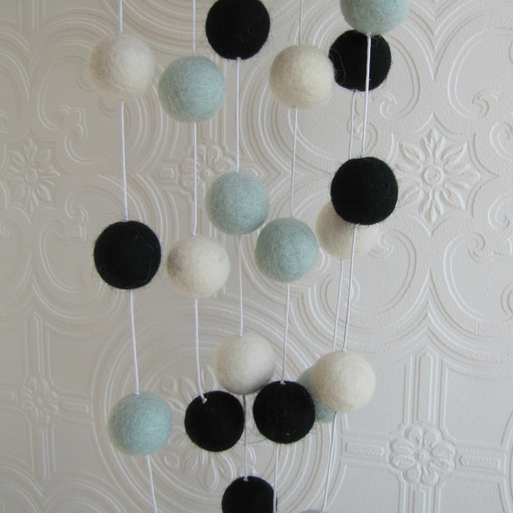 Mint, black and white felt ball garland - 3 metres