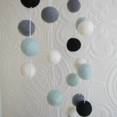 Mint, black, white and grey felt ball garland