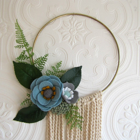 Blue, grey and sage, macrame and hoop hanging