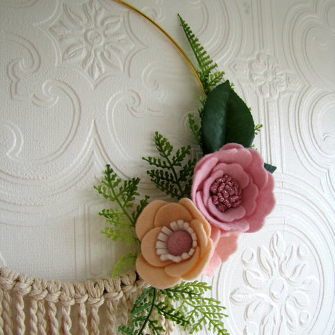 Pink and apricot felt flower wreath, gold hoop and macrame hanging