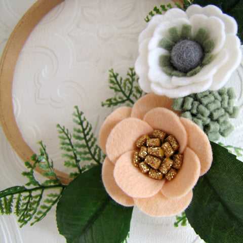Apricot and sage mini felt flower wreath