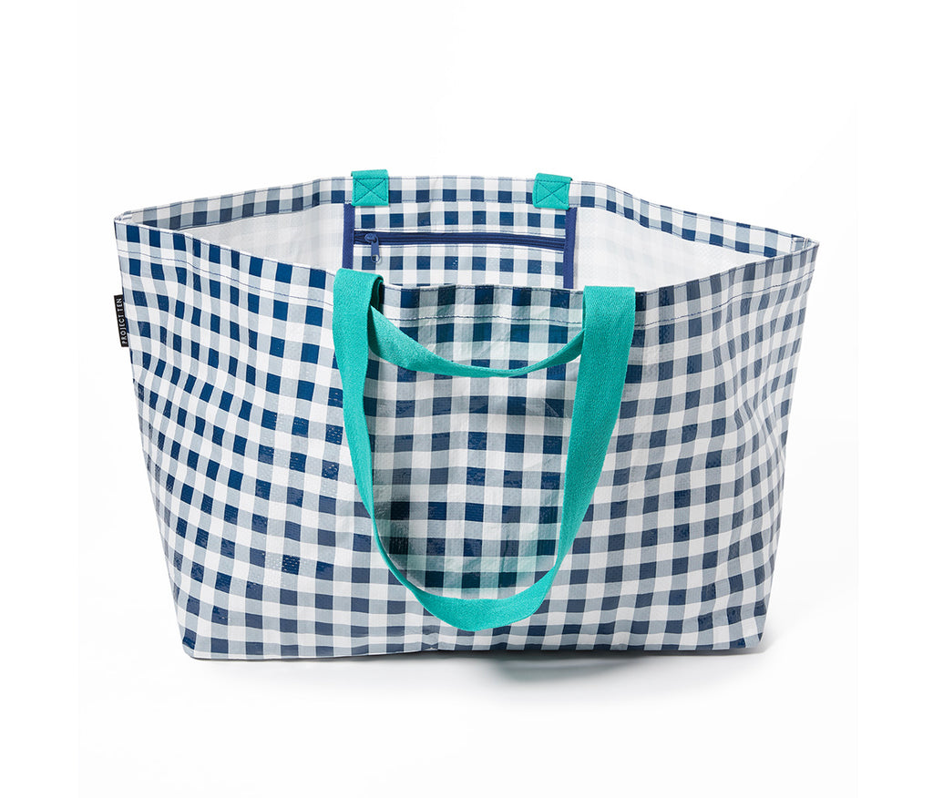 Project Ten - Navy Gingham Oversize Tote