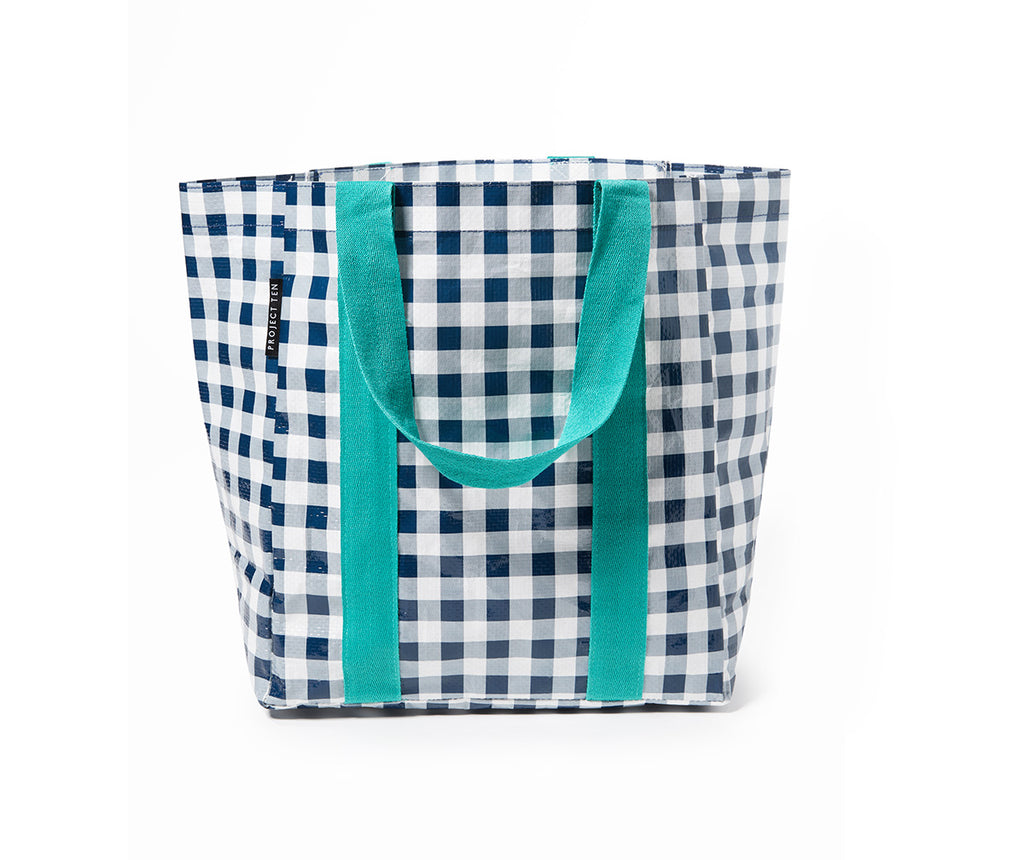 Project Ten - Navy Gingham Shopper