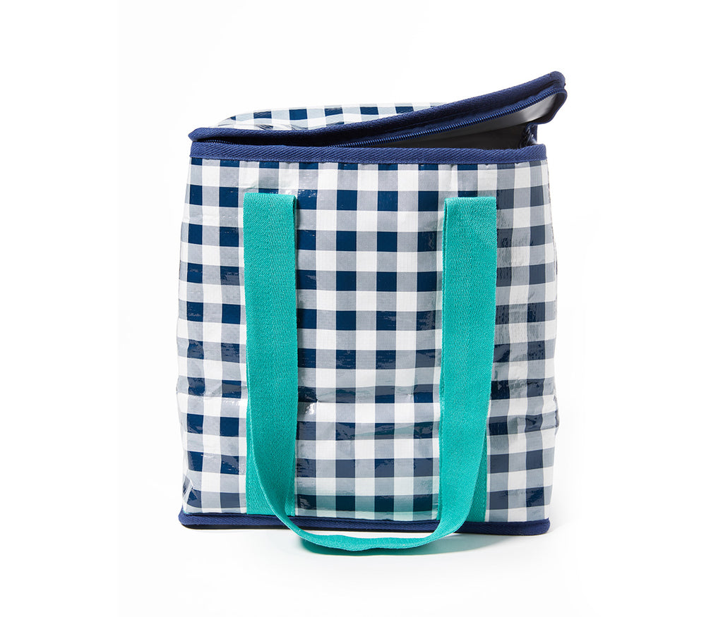 Project Ten - Navy Gingham Insulated Shopping Bag