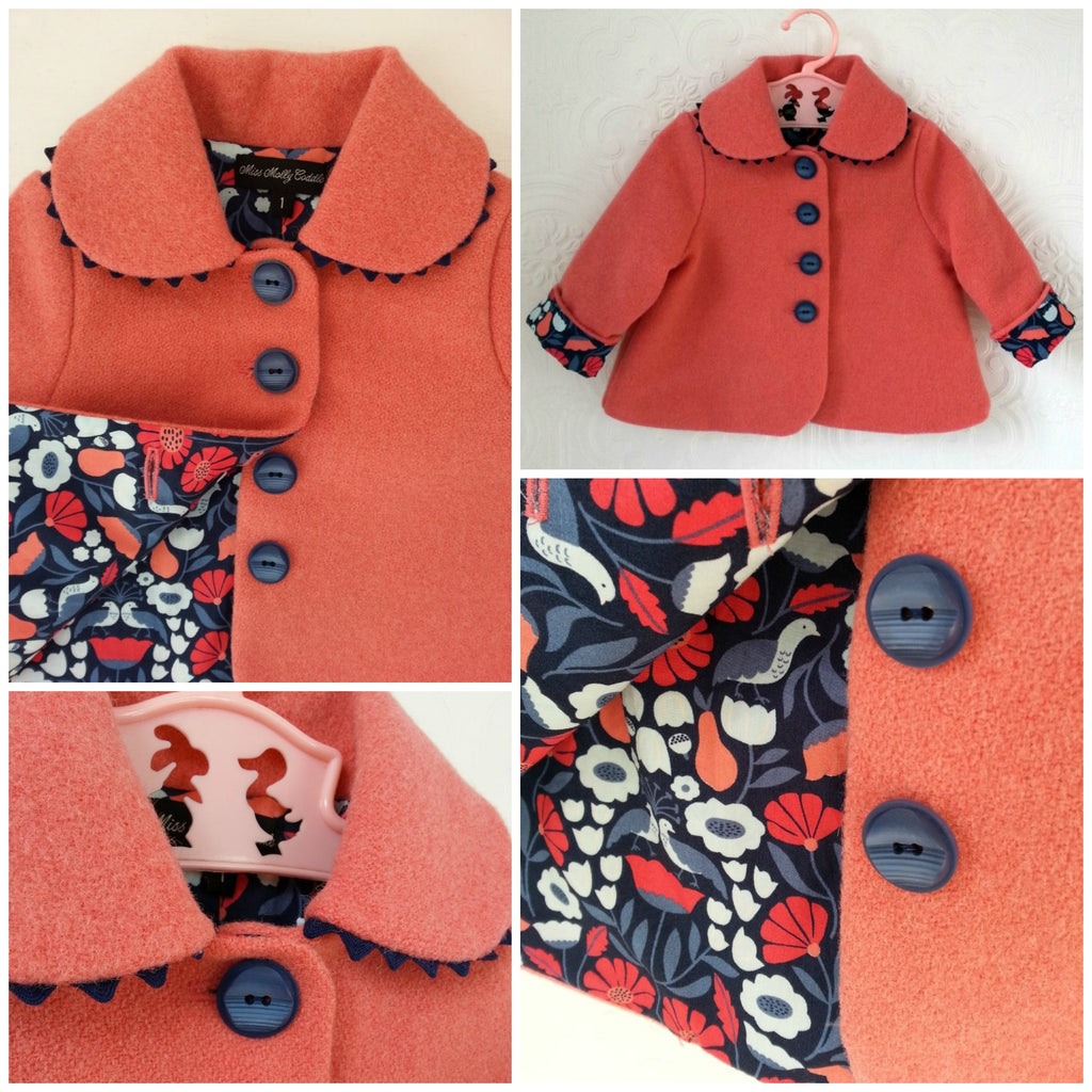 Little ladies wool coat with organic cotton lining - size 1