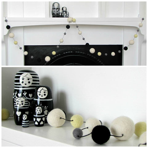 Felt ball garland - White, lemon, grey and black