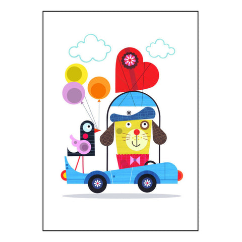 Love Car - Signed print of paper cut art