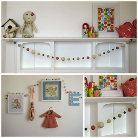 Felt ball garland - perfect pastels