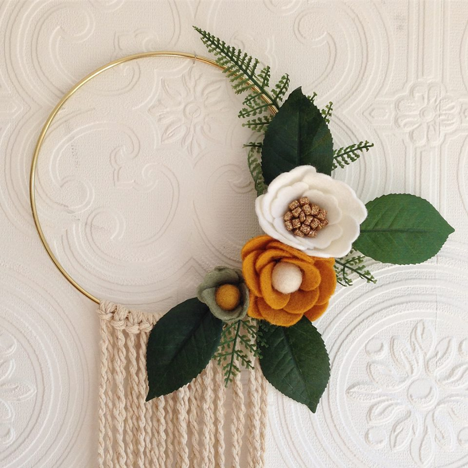 Felt flower wreath - Gold, mustard, white, sage & natural