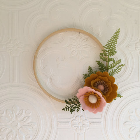 Mustard, pink and gold mini wreath