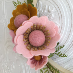 Stunning double hoop wreath - Peach, pink and mustard