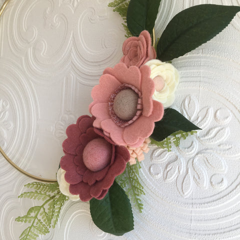 Statement felt flowers and gold hoop wreath