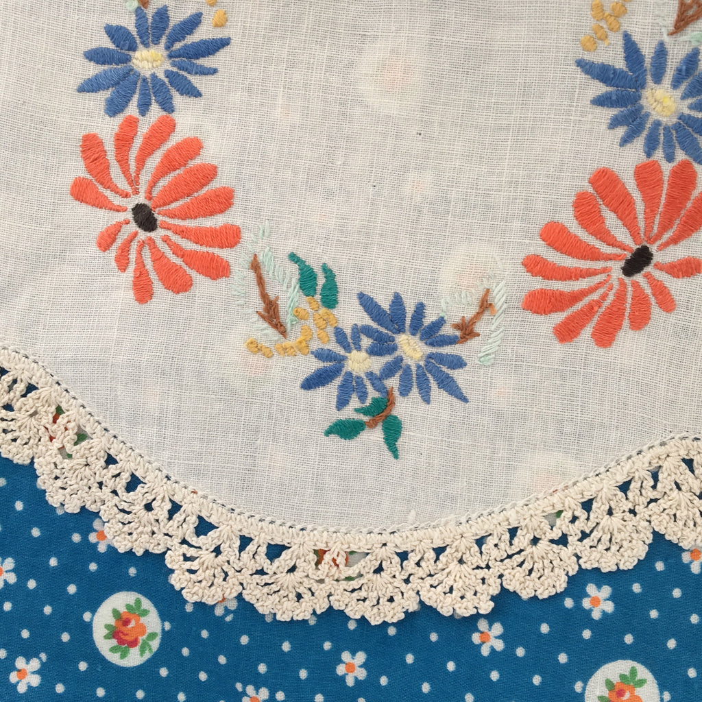 Floral and embroidered apron