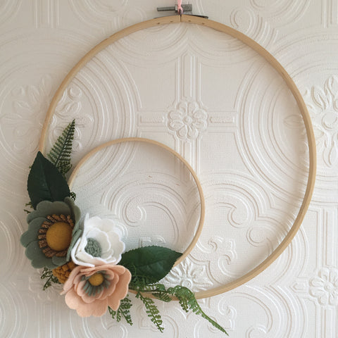Stunning double hoop wreath - Sage, peach & gold