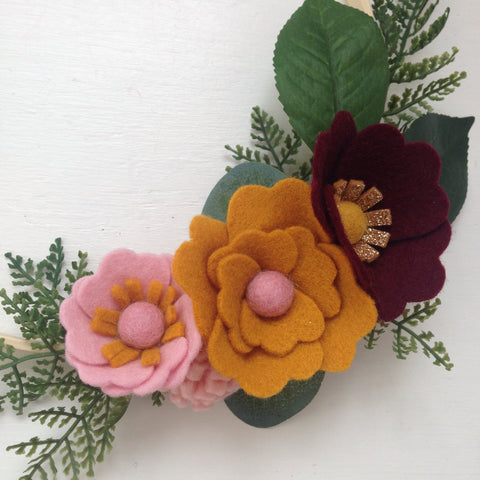 Felt flower wreath - mustard, pink, gold