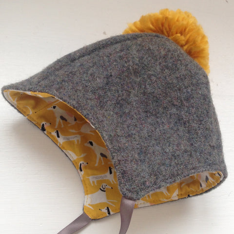 Mustard and grey pompom bonnet 6 -12 months