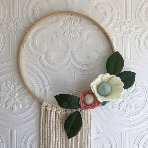 Beautiful felt flower and bamboo hoop wreath
