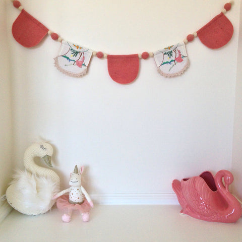 Vintage Embroidery & Hand Felted Scalloped Garland