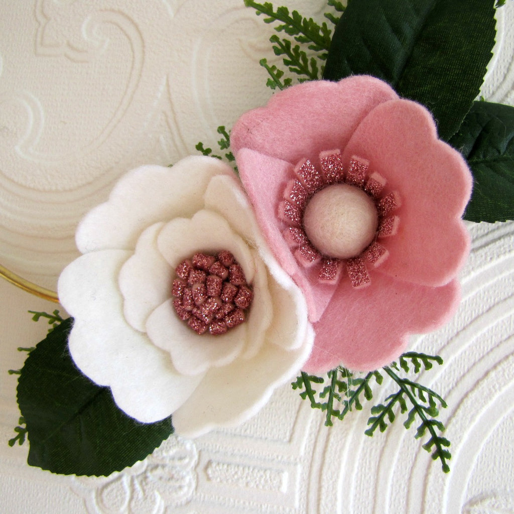 Pink, white and pink glitter, felt flower on gold hoop wreath