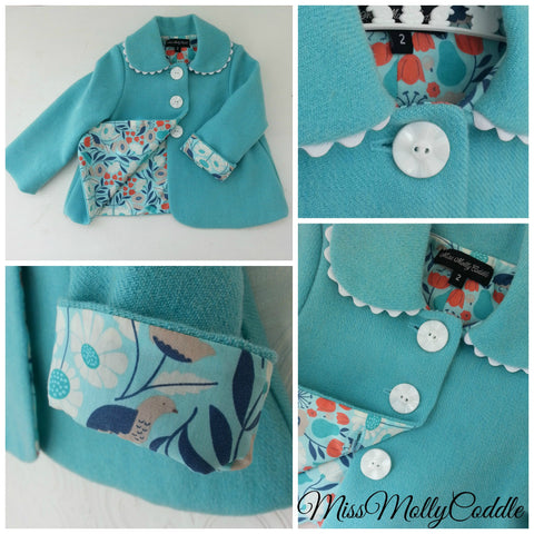 'Petals and pears' Little Ladies Coat - Size 2