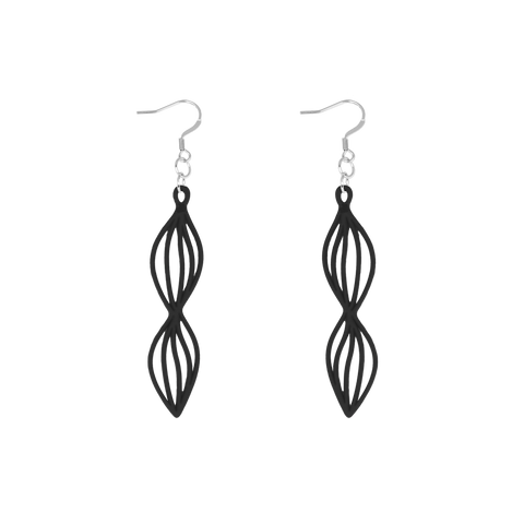 Waves Earring Black