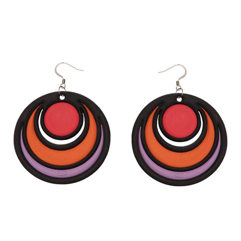 Batucada Dancing Circles Earring - Red & Purple