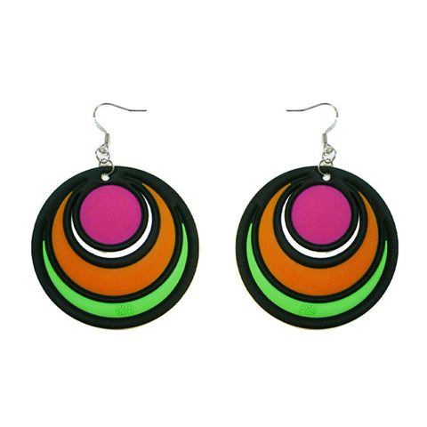 Batucada Dancing Circles Earring - Pink & Green