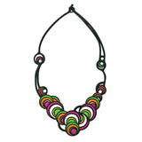 Batucada Dancing Circles Necklace- Pink & Green