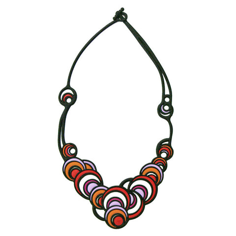 Batucada Dancing Circles Necklace - Red & Purple