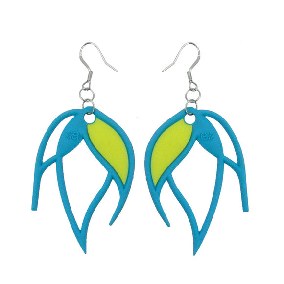 Batucada Flame Earring - Blue / Yellow