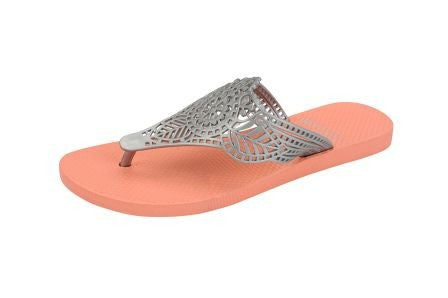 Batucada Indian Sandal - Salmon with Silver