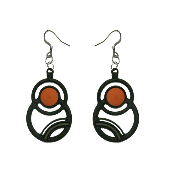 Batucada Saturne Earring - Orange / Grey