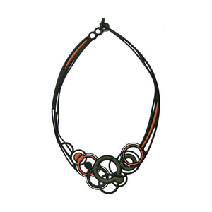Batucada Saturne Necklace - Orange / Grey