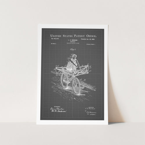 Rowing Bicycle Patent Art Print