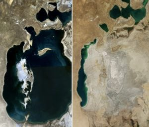 A comparison of the Aral Sea in 1989 (left) and 2014 (right). Water used for cotton farming.