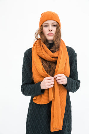 Organic Wool Scarf and Beanie
