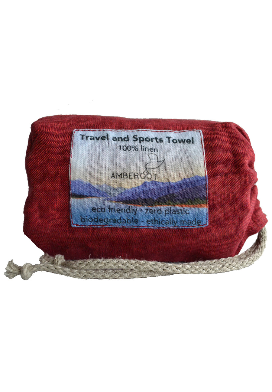 World's First Plastic Fabric Free Travel and Sports Towel in Red